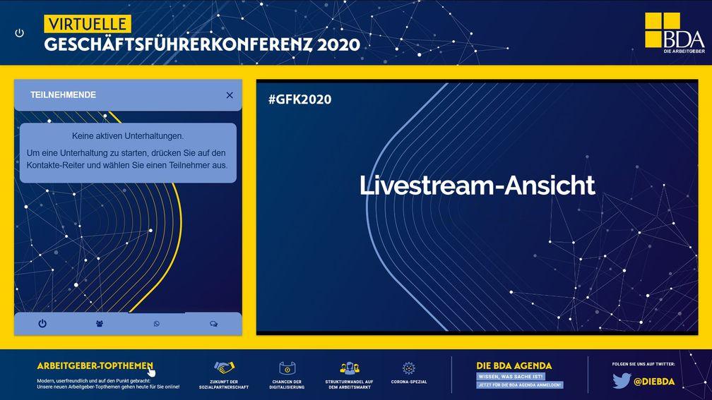 BDA virtuelle Geschäftsführerkonferenz 2020 Livestream Ansicht