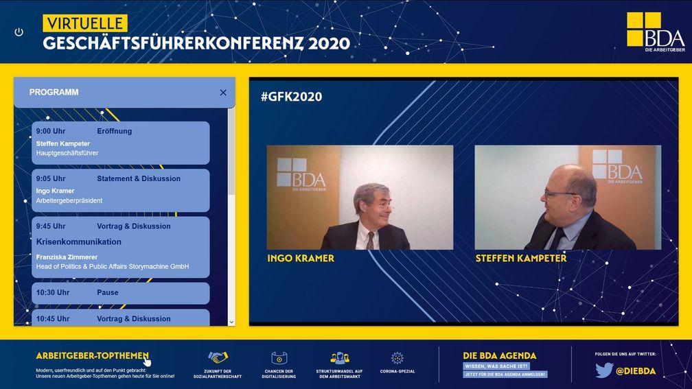 BDA virtuelle Geschäftsführerkonferenz 2020 Livestream