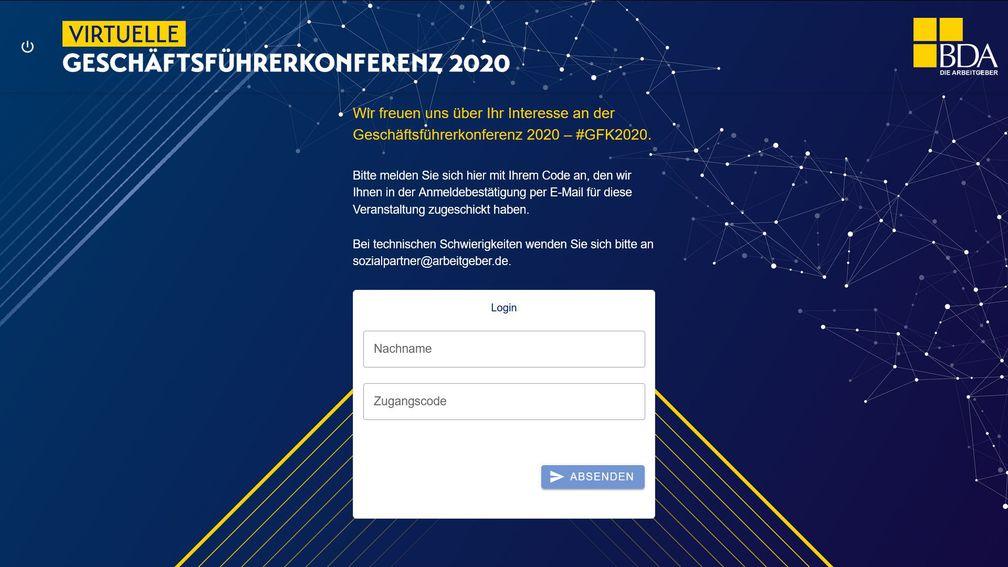BDA virtuelle Geschäftsführerkonferenz 2020 Login