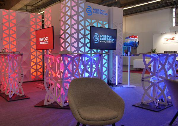 Prolight + Sound 2019 G+B Prolight + Sound 2019 G+B and EVVC stand construction concept chairs bar tables