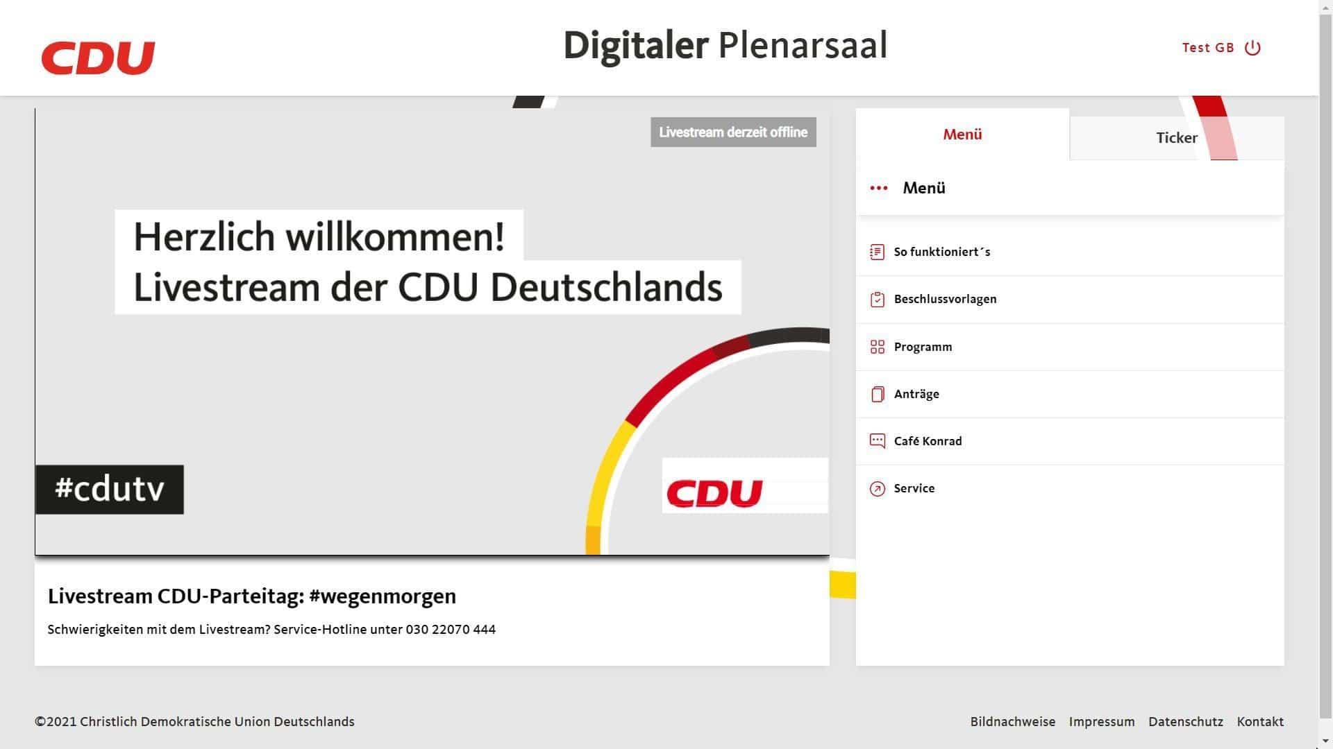CDU Parteitag Digitaler Plenarsaal